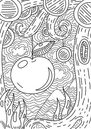 patrón con el paisaje. manzana en el árbol. Página para colorear libro para adultos y niños