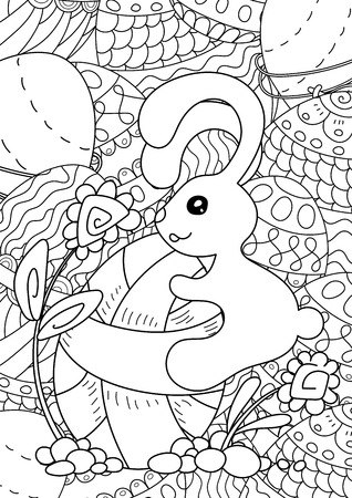 pattern. Happy Easter coloring book page for adult and kids.
