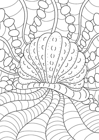 pearl shell: pattern. Coloring book page for adult and kids with undersea landscape. Ethnic retro design in style, pearl shell on the seabed Illustration