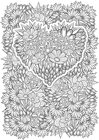 Vector floral pattern with heart. Coloring book page for adult. A4 form