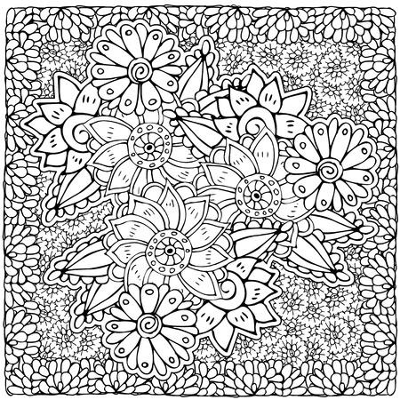 Modelo Floral Del Vector. Página Para Colorear Libro Para Adultos ...