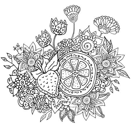 Vector Patrón Con Flores Abstractas De Manzana Y Fresa. Página Para ...