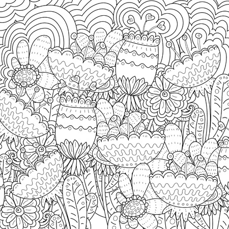 coloring book page: Vector abstract pattern. Coloring book page for adult. square form Illustration