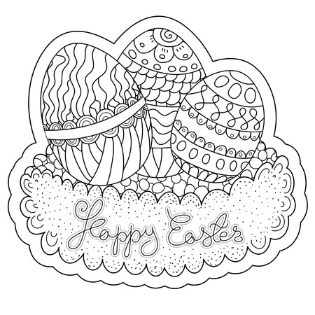 color pages: Vector pattern. Happy Easter coloring book page for adult and kids.