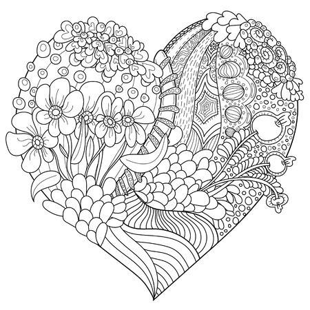 heart shaped vector abstract pattern with floral ornament. Coloring book page for adult. Illustration