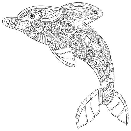 Zentangle stylizowany wizerunek totem zwierząt: delfin. Strona dorosłych anty stres dla kolorowanka. Ręcznie rysowane ilustracji w doodle stylu. Wektor czarny izolowane szkic