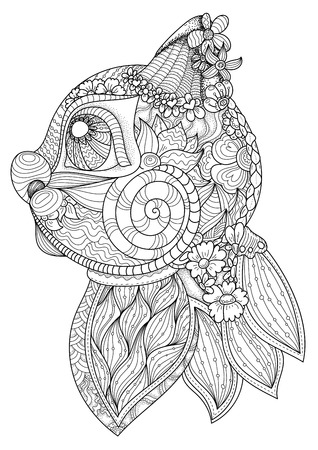 anti stress: Coloring book page for adults. Head of cat in side view. Ethnic anti stress pattern of totem animal in zentangle style