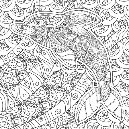 anti stress: square shaped zentangle stylized image of totem animal: dolphin. Adult anti stress page for coloring book. Hand drawn illustration in doodle style.