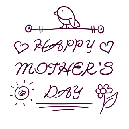 captivated: happy mothers day gift card template. hand drawn illustration in doodle style with isolated text of congratulation, bird and hearts