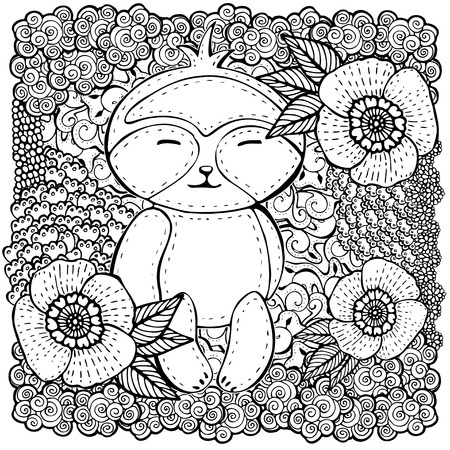 cute teddy bear: square shaped pattern with flowers and cute teddy bear. Coloring book page for adult and kids.