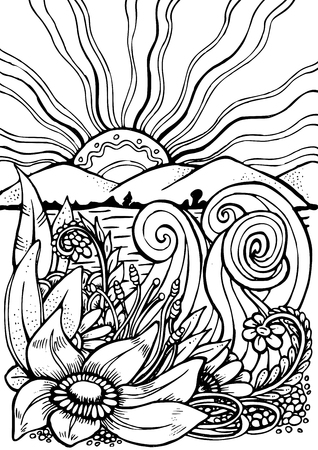 coloring book page: hand drawn pattern. Anti stress coloring book page for adult. Black and white landscape with flowers, mountains and sun. Sketch by trace