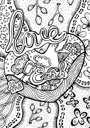 coloring book page: hand drawn pattern. Anti stress coloring book page for adult. world environment day pattern. Sketch by trace