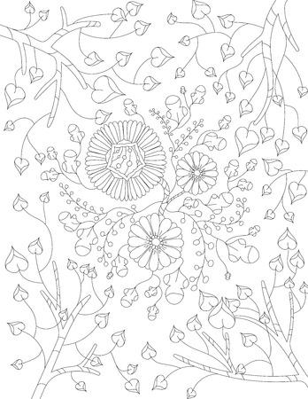Boyama Kitabi Icin Vektor Desen Cicek Unsurlari Beyaz Zemin