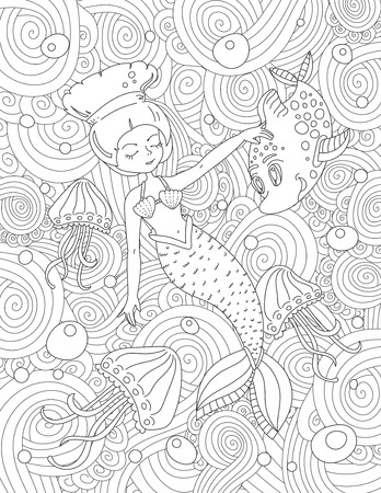 adult mermaid: Coloring book page for adult and kids in style. Vector black and white pattern with beautiful image of mystic swimming mermaid environment by wave fish and jellyfish Illustration