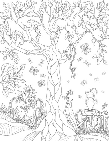 Vector nature pattern with garden. Anti stress coloring book page for adult. Black and white landscape with tree, butterflies, flowers. dragonflies and cacti Illustration