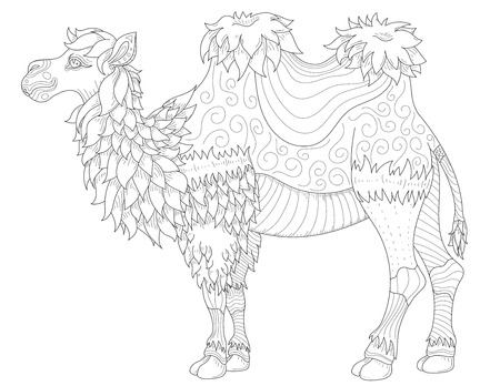 Dubai Outline Vector Anti Stress Coloring Book Page For Adult With Animal Camel