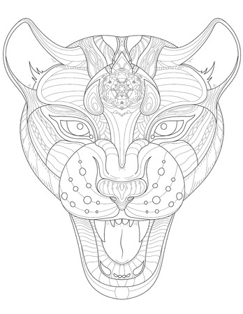 leopard head: Vector isolated image of Leopard head zentangle style. black line art on white background. Can be use as coloring book page for adults, t-shirt design or tattoo