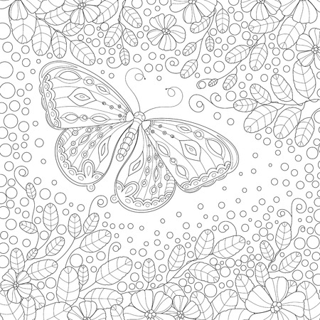 anti season: Coloring book page for adult with butterfly flowers and foliage. Vector black and white pattern Illustration