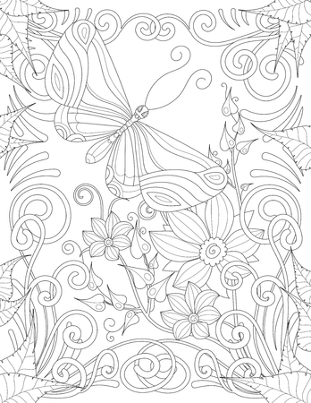 anti season: Coloring book page for adult with butterfly flowers and curls. Vector black and white pattern Illustration