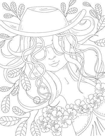 Patrón De Libro Para Colorear. Hermosa Chica. Dibujo Para Colorear ...
