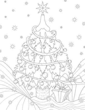 Anti stress coloring book page for adult. Pattern with Christmas tree and gifts in boxes Illustration