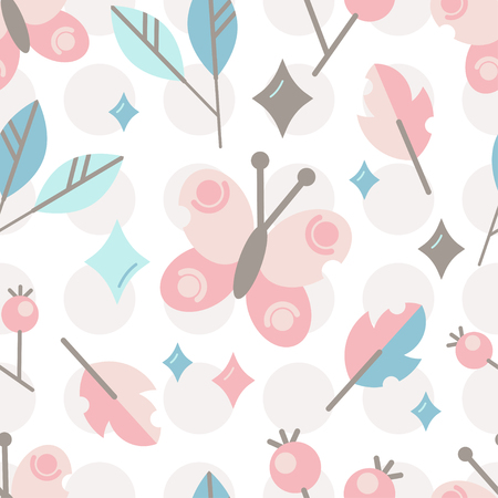 Seamless vector pattern with cute stylized butterfly, berries, and leaves. Design for decoration of kids accessories. 일러스트