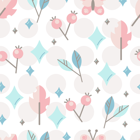 Seamless vector pattern with cute stylized berries and leaves. Design for decoration of kids accessories.