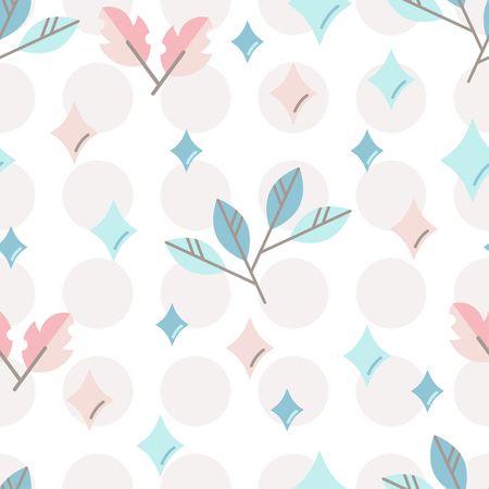 Seamless vector pattern with cute stylized leaves. Design for decoration of kids accessories.