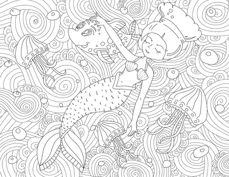 Coloring book page for adult and kids.