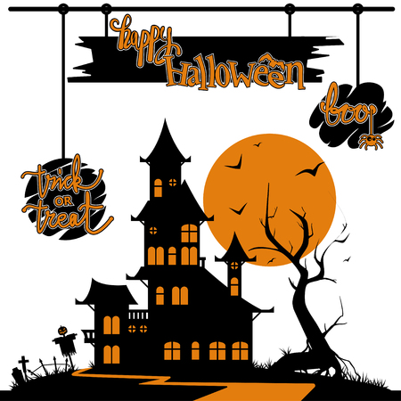 Halloween vector illustration. Black and orange silhouette of castle with greetings Çizim