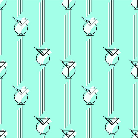 Vector seamless pattern with glass stemware. colorful backdrop stylized simple line art. the geometric backdrop for textile, wrapping paper, and other decorations Illustration