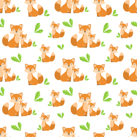 vector seamless pattern with cute and simple cartoon foxes and grass Illustration