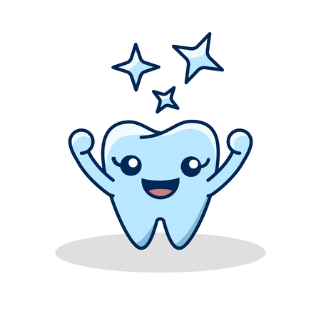 Vector healthy tooth icon. Children teeth care. Flat design illustration with shining effect stars. Oral dental hygiene Stok Fotoğraf - 109644469