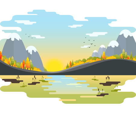 autumn vector landscape. Mountains with fir-trees and bushes on the riverside. flat style colorful scenery.