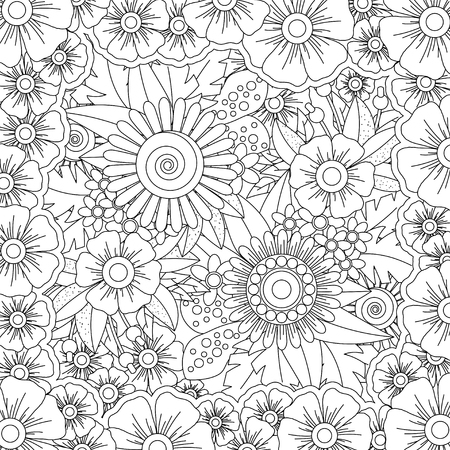 Vector pattern for coloring book. Ethnic retro design style with floral elements,Black square shaped line art