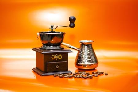 grains of coffee: Composici�n con granos de caf� Foto de archivo