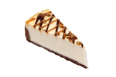 Cheesecake chocolate on a White Background photo
