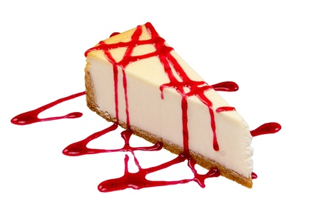 cheesecake with strawberry jam on a white background photo