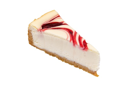 A piece of cheesecake isolated on white background photo