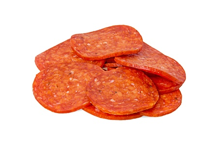 pepperoni: the cut Pepperoni isolated on a white background Stock Photo