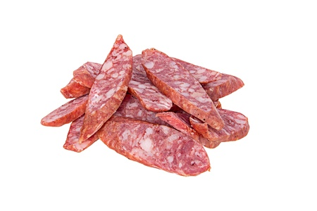 salame: the cut salame isolated on a white background Stock Photo