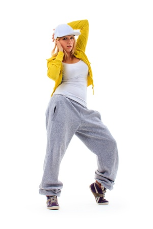 hip hop dancing: Hip Hop Girl isolated on white background