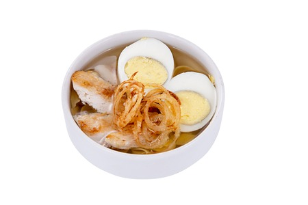 japanese soba soup on a white  background photo