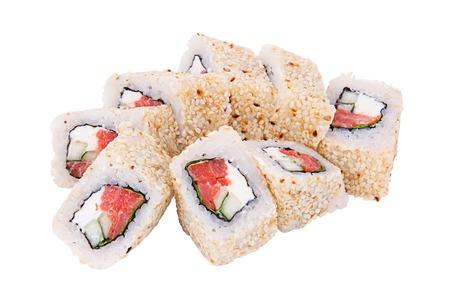 sushi roll Alaska on a white background