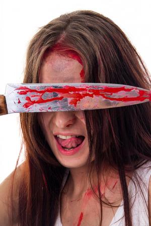 murderer girl isolated on a white background