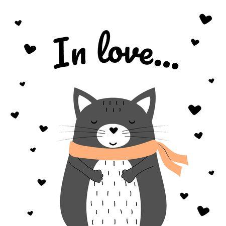 Chat joufflu gris mignon avec écharpe. Illustration de dessin animé de vecteur. Vecteurs