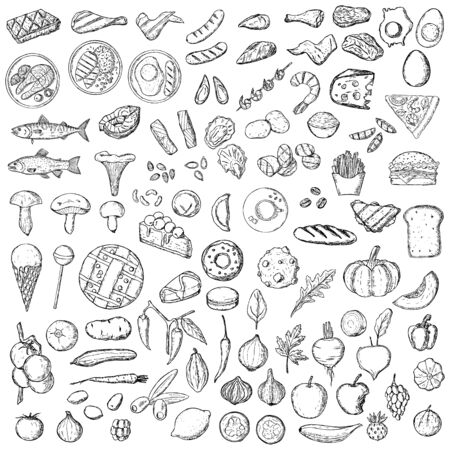 Big hand-drawn set of food. Isolated objects on a white background. Ilustrace