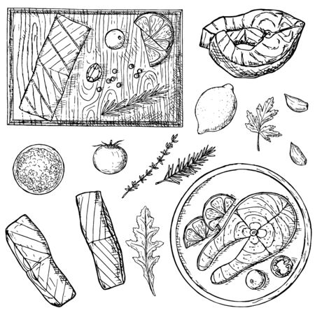 Hand-drawn set of fish steaks and fillet. Vector cartoon illustrations. Isolated objects on a white background.Top view. Ilustração