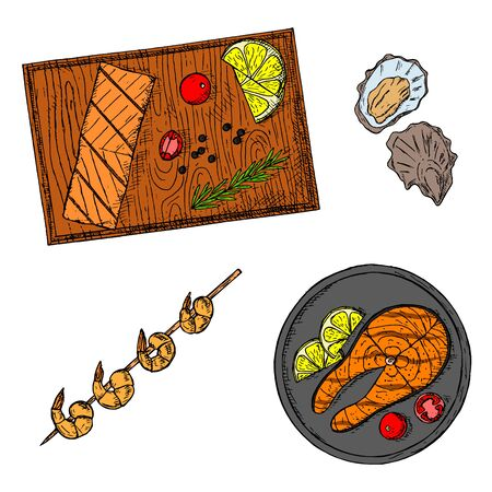Seafood collection. Hand-drawn isolated objects.