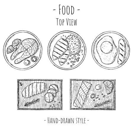 Hand-drawn set of food illustrations. Meat, fish, sausage and fried egg on plates and wooden boards. Isolated objects on a white background. Top view.
